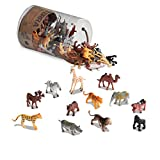 Battat AN6004 Terra - Figurines juguetes de 12 tipos de animales salvajes en un tubo para...