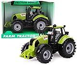 TOYLAND 22cm x 12cm Tractor Agrícola Verde con Fricción con Capó de Apertura