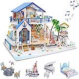 GuDoQi Casa de Muñecas de Madera DIY, Miniatura de la Casa de Muñecas con Muebles y...