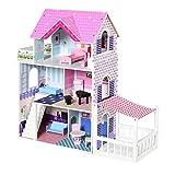 HOMCOM Casa de Muñecas de 3 Pisos con Patio Muebles Accesorios Completos Diseño Lindo...
