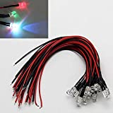 LAOMAO 1 Pack (20 Bulbs) 3mm 12V DC 7 different color flashing LED Pre-Wired Round Top...