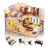 GuDoQi Casa en Miniatura con Música para Construir, Casa de Muñecas en Miniatura, Kit de...