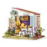 1yess Casa de muñecas Kit Miniatura DIY Porche con Muebles Niños Adulto Miniatura...