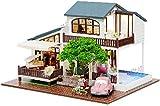 1yess Modelo Decoración DIY Casa de muñecas Modelo Casa de Villa Kits de construcción...