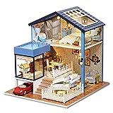 DIY casa de muñecas - Artesanía de Madera en Miniatura Villa Moderna con Aire Libre de...