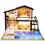 Bricolaje Casa de Muñecas de Madera de Diseño, con Luces+Piscina Privada, Miniatura con...