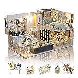 GuDoQi Casa en Miniatura con Música para Construir, Kit de Manualidades DIY, Miniatura de...