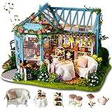 GuDoQi Miniatura de la Casa de Muñecas con Música, Tienda de Jardín de té Hecha a Mano...